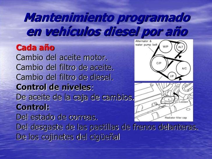 Mantenimiento programado  en vehículos diesel por año Cada año Cambio del aceite motor. Cambio del filtro de aceite. Cambi...
