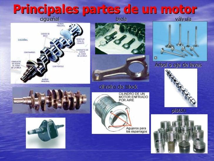 Principales partes de un motor     cigueñal          biela                válvula                                        Á...