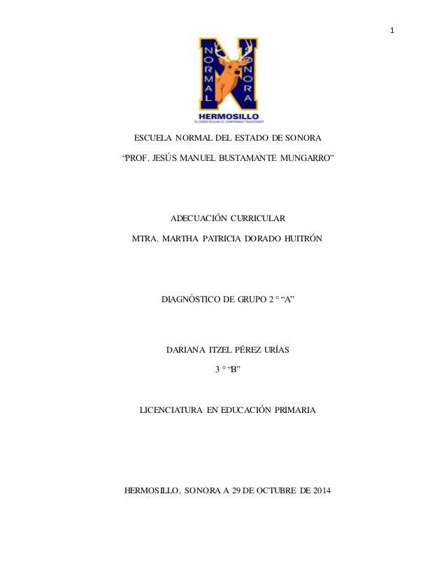 """1  ESCUELA NORMAL DEL ESTADO DE SONORA  """"PROF. JESÚS MANUEL BUSTAMANTE MUNGARRO""""  ADECUACIÓN CURRICULAR  MTRA. MARTHA PATR..."""