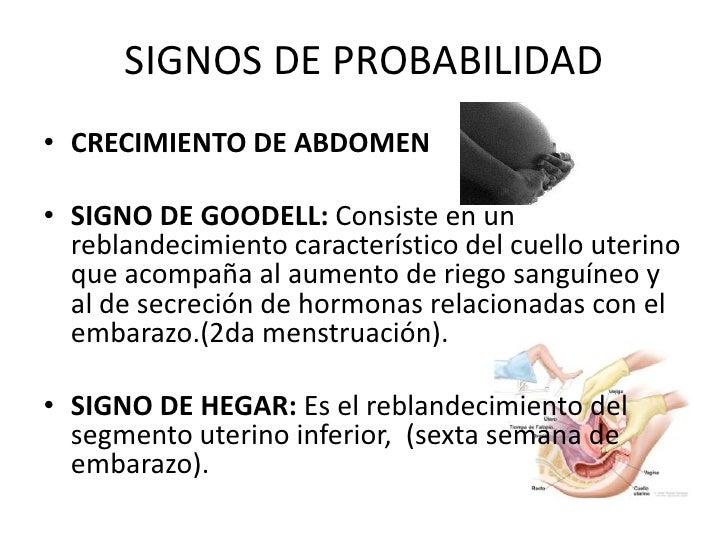 SIGNOS DE PROBABILIDAD<br />CRECIMIENTO DE ABDOMEN <br />SIGNO DE GOODELL: Consiste en un reblandecimiento característico ...