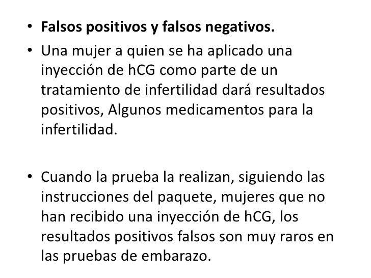 Falsos positivos y falsos negativos.<br />Una mujer a quien se ha aplicado una inyección de hCG como parte de un tratamien...
