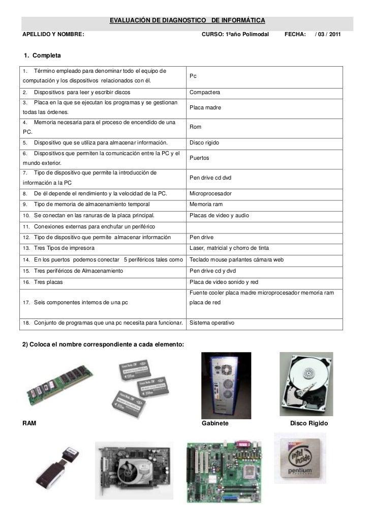 EVALUACIÓN DE DIAGNOSTICO   DE INFORMÁTICA<br />APELLIDO Y NOMBRE:                                                        ...