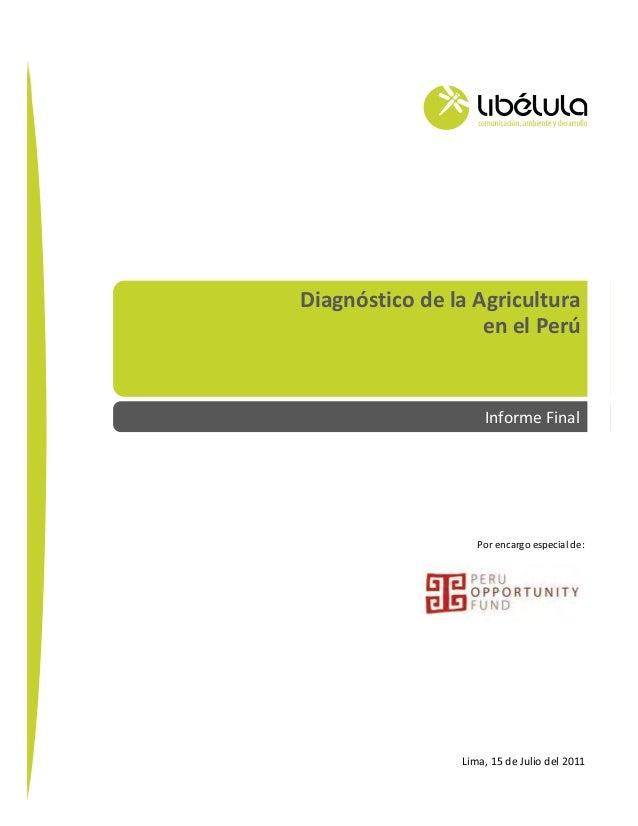Diagnóstico de la Agricultura en el Perú – Informe Final 1 Por encargo especial de: Diagnóstico de la Agricultura en el Pe...