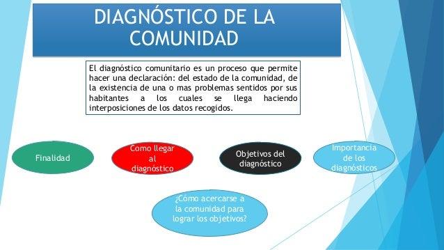 DIAGNÓSTICO DE LACOMUNIDADEl diagnóstico comunitario es un proceso que permitehacer una declaración: del estado de la comu...