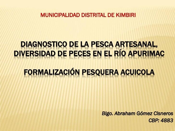 MUNICIPALIDAD DISTRITAL DE KIMBIRI  DIAGNOSTICO DE LA PESCA ARTESANAL,DIVERSIDAD DE PECES EN EL RÍO APURIMAC  FORMALIZACIÓ...