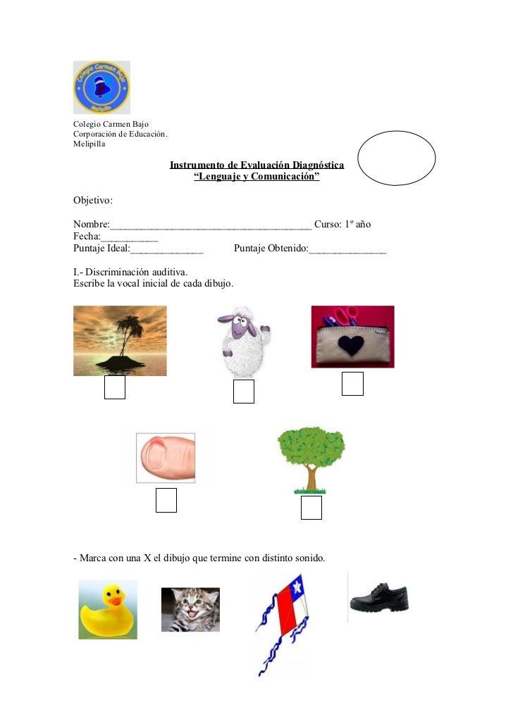 Colegio Carmen BajoCorporación de Educación.Melipilla                            Instrumento de Evaluación Diagnóstica    ...