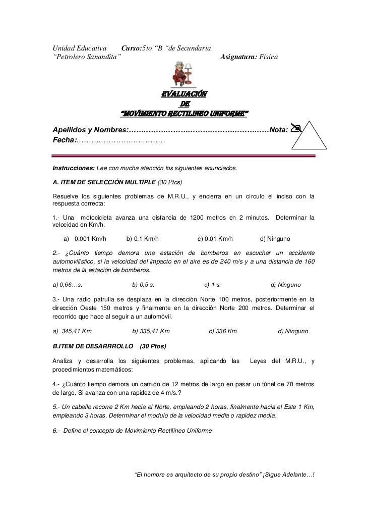 """Unidad Educativa      Curso:5to """"B """"de Secundaria""""Petrolero Sanandita""""                                       Asignatura: F..."""
