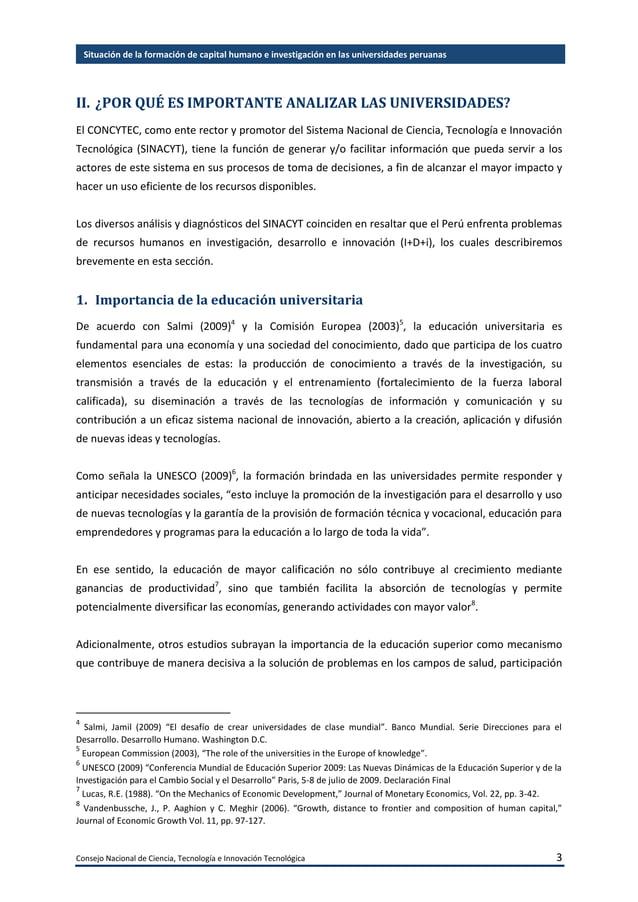 Consejo Nacional de Ciencia, Tecnología e Innovación Tecnológica 4 Situación de la formación de capital humano e investiga...