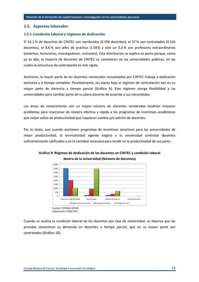 Consejo Nacional de Ciencia, Tecnología e Innovación Tecnológica 13 Situación de la formación de capital humano e investig...