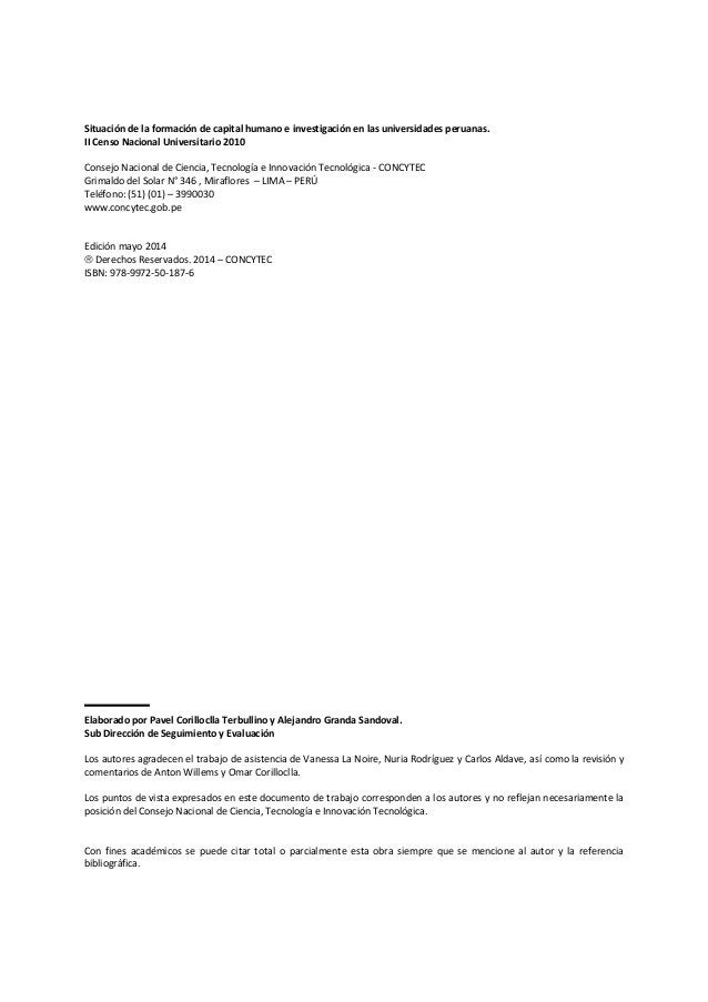 Consejo Nacional de Ciencia, Tecnología e Innovación Tecnológica ii Situación de la formación de capital humano e investig...
