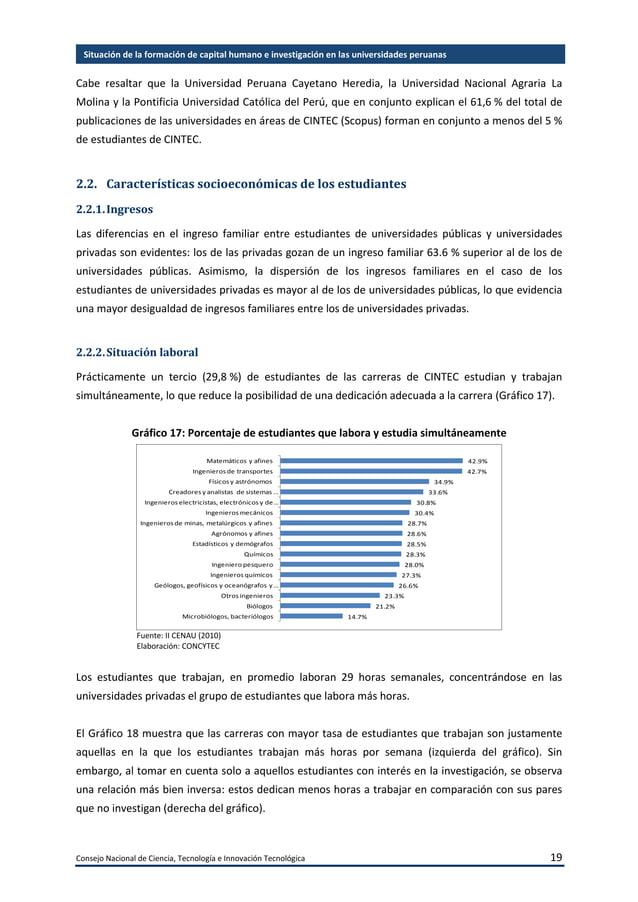 Consejo Nacional de Ciencia, Tecnología e Innovación Tecnológica 20 Situación de la formación de capital humano e investig...