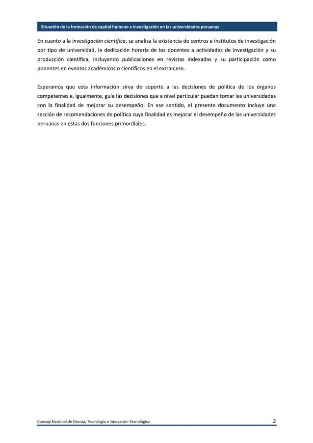 Consejo Nacional de Ciencia, Tecnología e Innovación Tecnológica 3 Situación de la formación de capital humano e investiga...