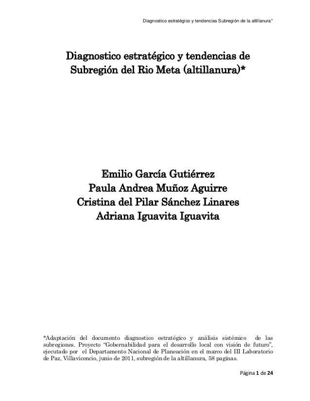 Diagnostico estratégico y tendencias Subregión de la altillanura* Página 1 de 24 Diagnostico estratégico y tendencias de S...