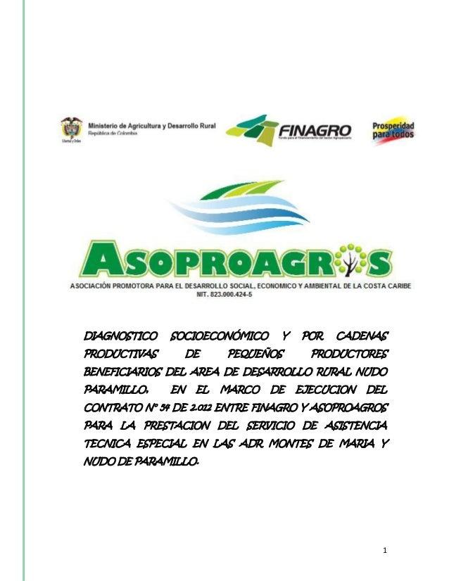 DIAGNOSTICO   SOCIOECONÓMICO      Y   POR   CADENASPRODUCTIVAS        DE    PEQUEÑOS       PRODUCTORESBENEFICIARIOS DEL AR...