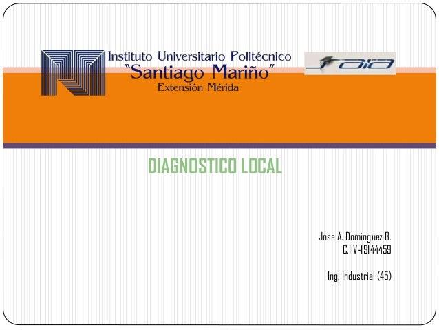 Jose A. Dominguez B. C.I V-19144459 Ing. Industrial (45) DIAGNOSTICO LOCAL