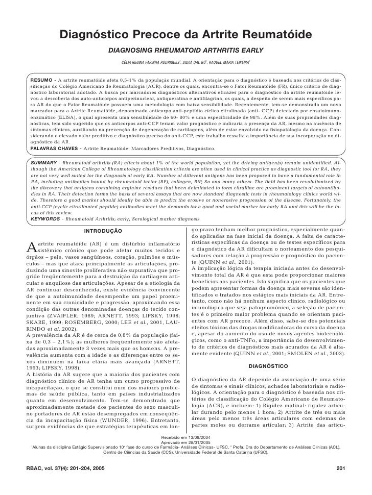Diagnóstico Precoce da Artrite Reumatóide                                        DIAGNOSING RHEUMATOID ARTHRITIS EARLY    ...