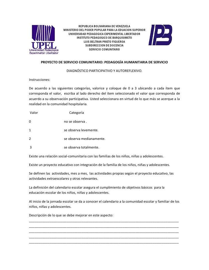 Diagnostico Proyecto Comunitario Pedagog A Humanitaria De