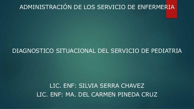 ADMINISTRACIÓN DE LOS SERVICIO DE ENFERMERIA DIAGNOSTICO SITUACIONAL DEL SERVICIO DE PEDIATRIA LIC. ENF: SILVIA SERRA CHAV...