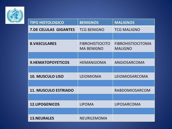 TIPO HISTOLOGICO        BENIGNOS        MALIGNOS7.DE CELULAS GIGANTES   TCG BENIGNO     TCG MALIGNO8.VASCULARES           ...