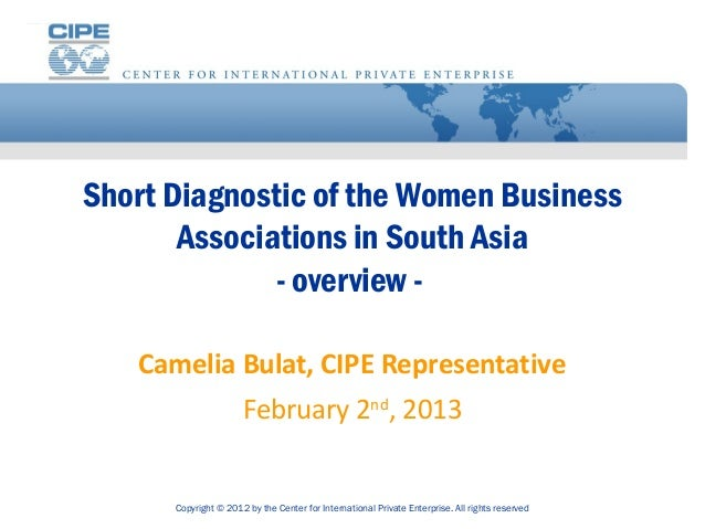 Short Diagnostic of the Women Business       Associations in South Asia              - overview -   Camelia Bulat, CIPE Re...