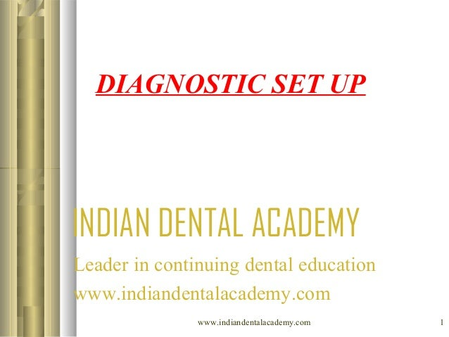 DIAGNOSTIC SET UP  INDIAN DENTAL ACADEMY Leader in continuing dental education www.indiandentalacademy.com www.indiandenta...