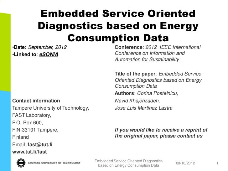 Embedded Service Oriented          Diagnostics based on Energy               Consumption Data•Date: September, 2012       ...