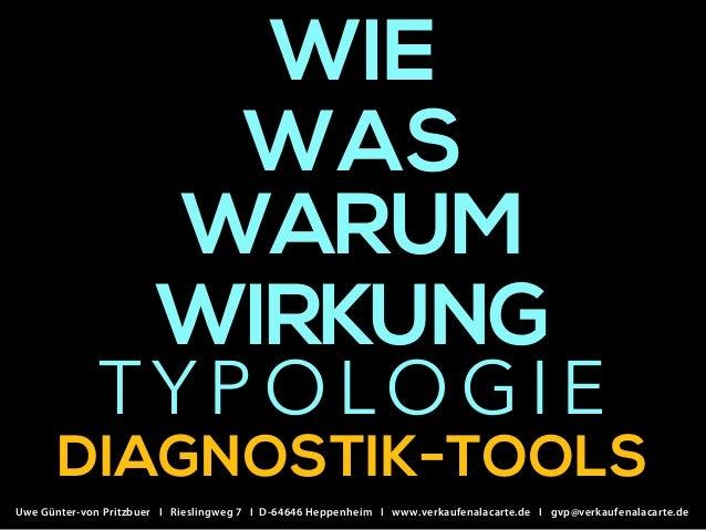TYPOLOGIE WIE WAS WARUM WIRKUNG DIAGNOSTIK-TOOLS Uwe Günter-von Pritzbuer I Rieslingweg 7 I D-64646 Heppenheim I www.verka...