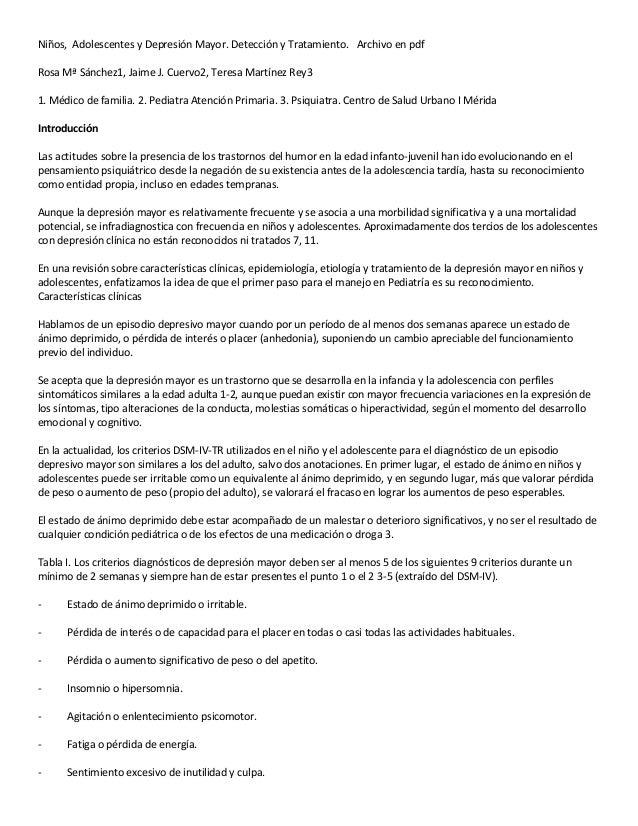 Niños, Adolescentes y Depresión Mayor. Detección y Tratamiento. Archivo en pdf Rosa Mª Sánchez1, Jaime J. Cuervo2, Teresa ...