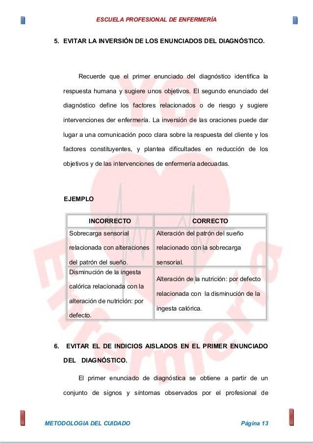 ESCUELA PROFESIONAL DE ENFERMERÍA 5. EVITAR LA INVERSIÓN DE LOS ENUNCIADOS DEL DIAGNÓSTICO. Recuerde que el primer enuncia...