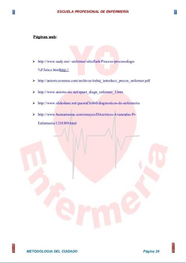 ESCUELA PROFESIONAL DE ENFERMERÍA Páginas web:  http://www.uady.mx/~enfermer/sitioflash/Proceso/procesodiagn %F3stico.htm...