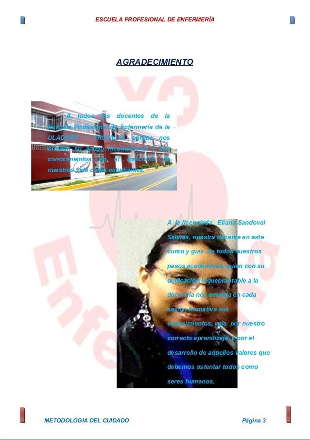 ESCUELA PROFESIONAL DE ENFERMERÍA AGRADECIMIENTO METODOLOGIA DEL CUIDADO Página 3 A todos los docentes de la Escuela Profe...