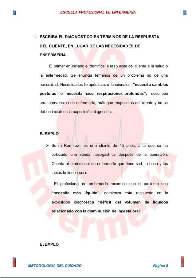 ESCUELA PROFESIONAL DE ENFERMERÍA 1. ESCRIBA EL DIAGNÓSTICO EN TÉRMINOS DE LA RESPUESTA DEL CLIENTE, EN LUGAR DE LAS NECES...