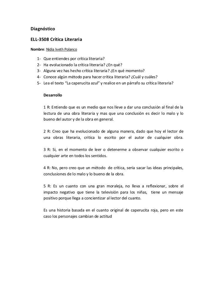 Diagnóstico<br />ELL-3508 Crítica Literaria<br />Nombre: Nidia Iveth Polanco<br />Que entiendes por crítica literaria?<br ...