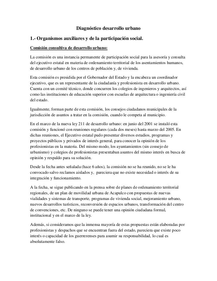 Diagnóstico desarrollo urbano1.- Organismos auxiliares y de la participación social.Comisión consultiva de desarrollo urba...