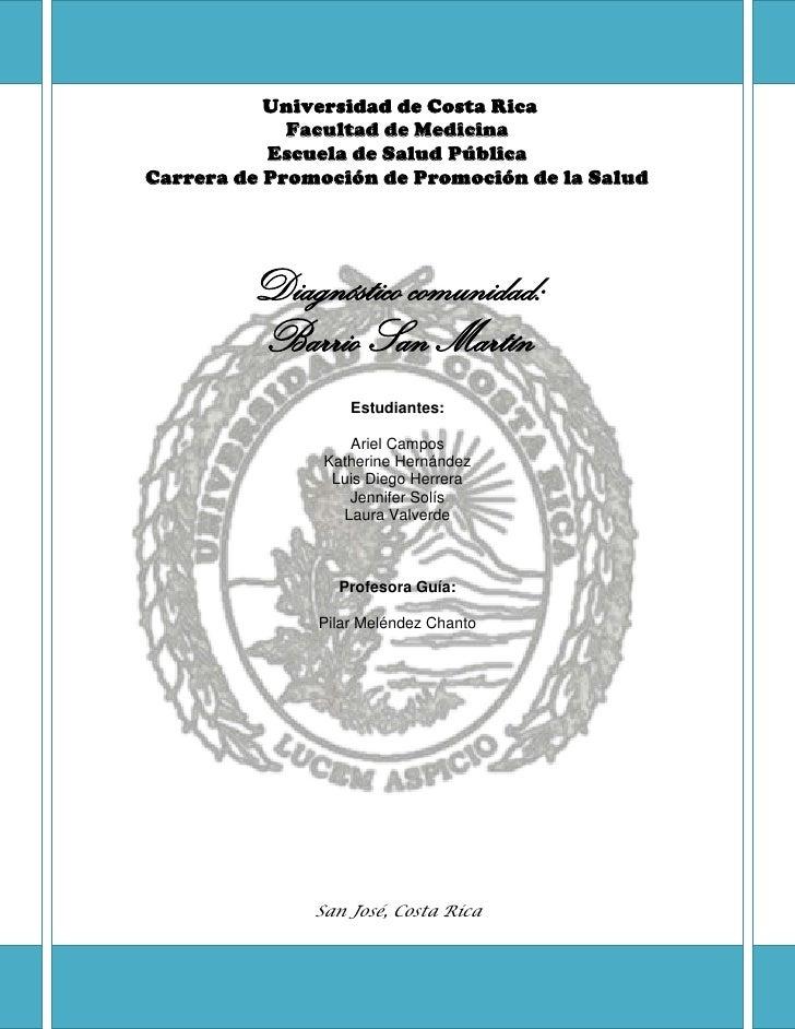 Universidad de Costa Rica             Facultad de Medicina           Escuela de Salud PúblicaCarrera de Promoción de Promo...