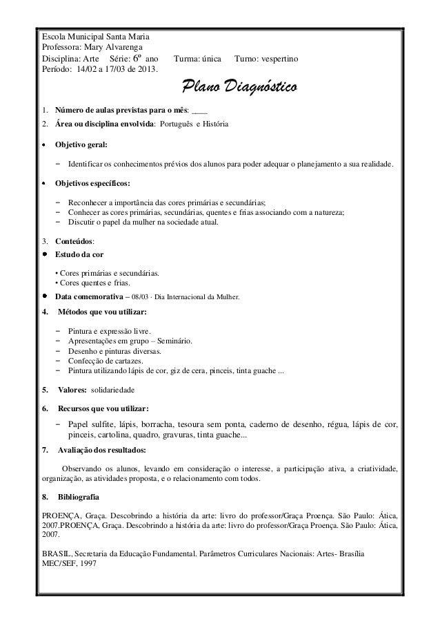 Escola Municipal Santa MariaProfessora: Mary AlvarengaDisciplina: Arte Série: 6º ano             Turma: única        Turno...