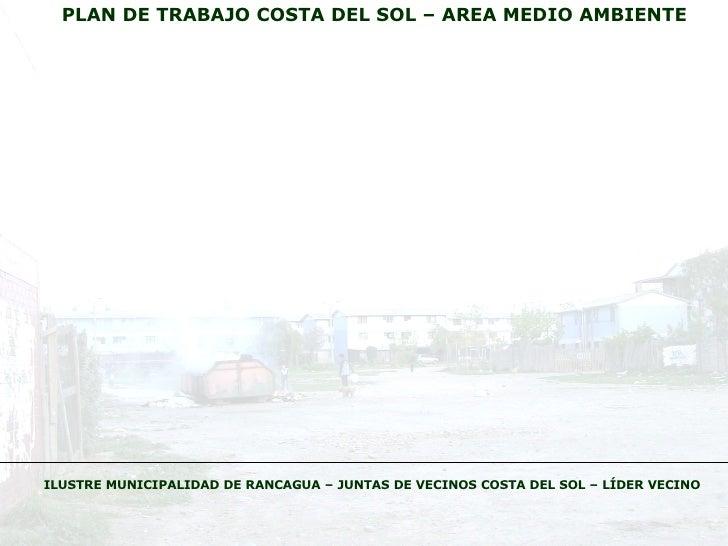 PLAN DE TRABAJO COSTA DEL SOL – AREA MEDIO AMBIENTE ILUSTRE MUNICIPALIDAD DE RANCAGUA – JUNTAS DE VECINOS COSTA DEL SOL – ...