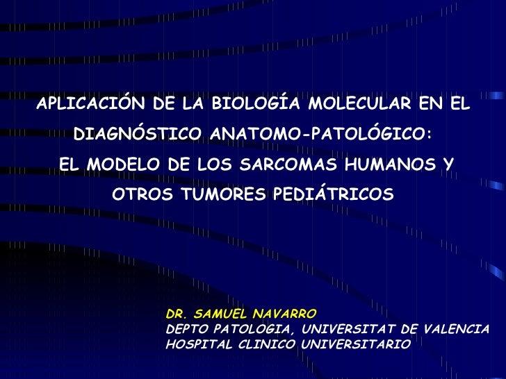 APLICACIÓN DE LA BIOLOGÍA MOLECULAR EN EL DIAGNÓSTICO ANATOMO-PATOLÓGICO: EL MODELO DE LOS SARCOMAS HUMANOS Y OTROS TUMORE...