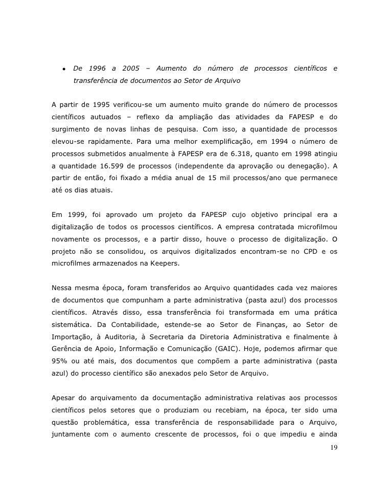 Diagnóstico do arquivo da Fundação de Amparo a Pesquisa do Estado de São Paulo (FAPESP) - Fabiana Andrade Pereira e Ana Lu...