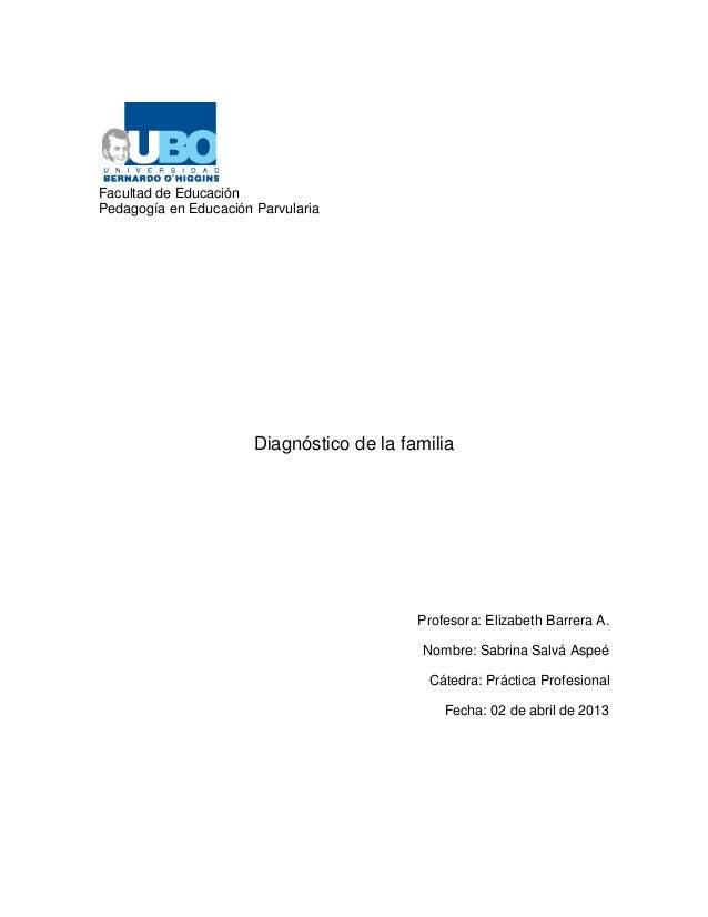 Facultad de EducaciónPedagogía en Educación Parvularia                       Diagnóstico de la familia                    ...