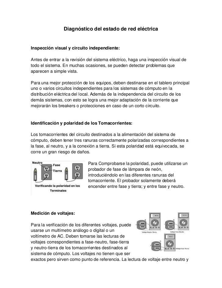 Diagnóstico del estado de red eléctricaInspección visual y circuito independiente:Antes de entrar a la revisión del sistem...