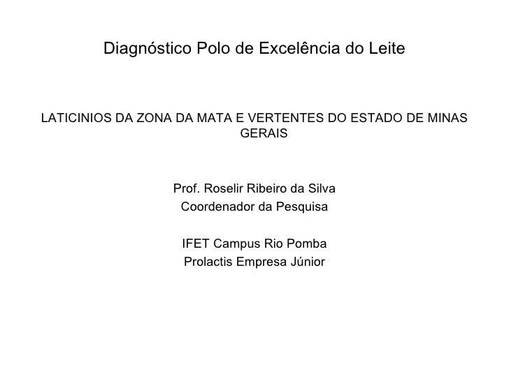 Diagnóstico Polo de Excelência do Leite <ul><li>LATICINIOS DA ZONA DA MATA E VERTENTES DO ESTADO DE MINAS GERAIS </li></ul...