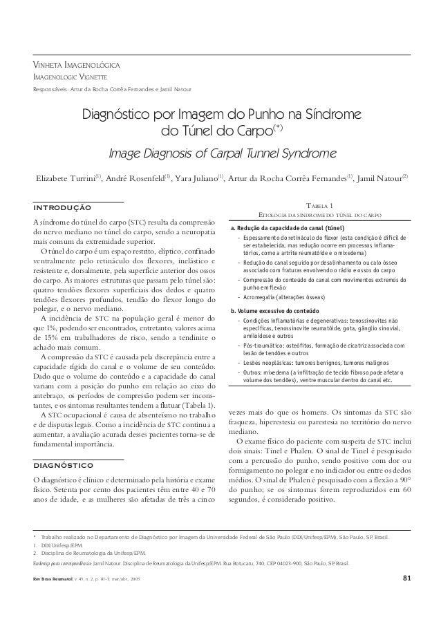81Rev Bras Reumatol, v. 45, n. 2, p. 81-3, mar./abr., 2005 Diagnóstico por Imagem do Punho na Síndrome do Túnel do Carpo D...