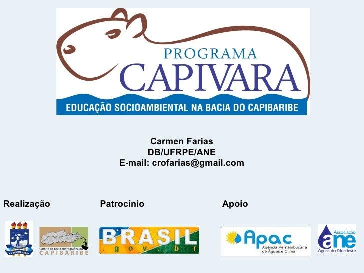 Carmen Farias                       DB/UFRPE/ANE                 E-mail: crofarias@gmail.comRealização   Patrocínio       ...