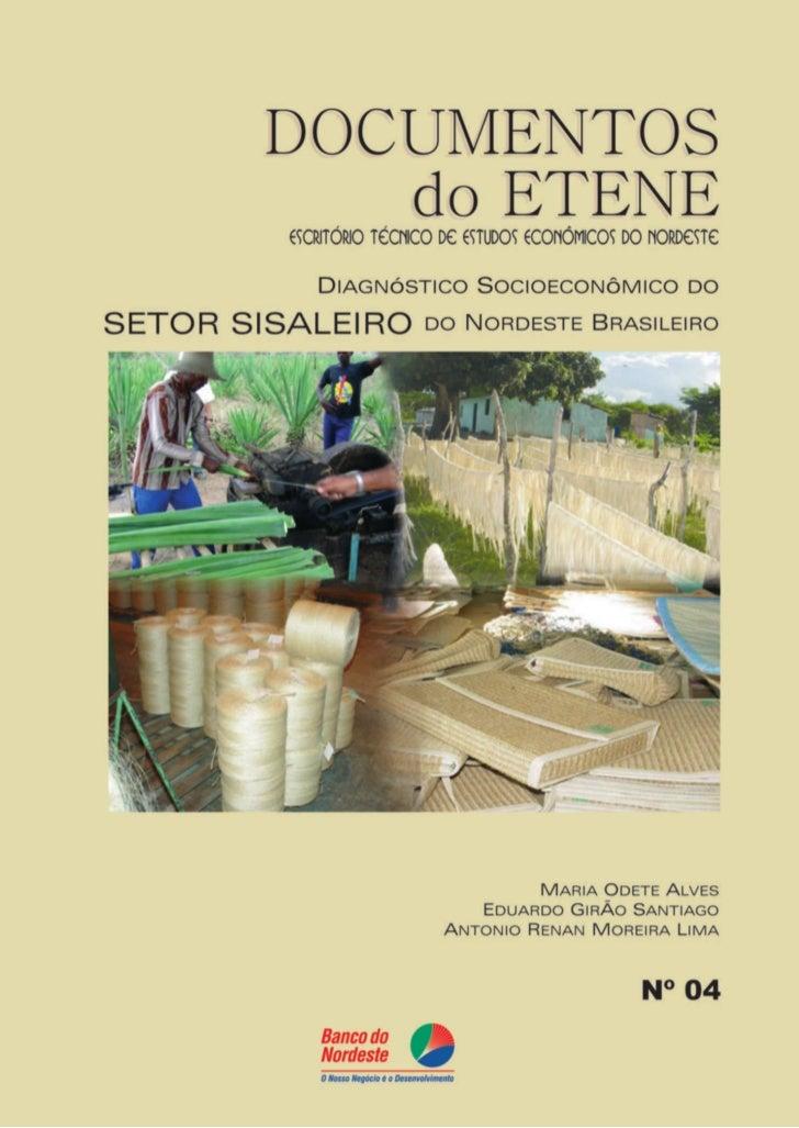 DIAGNÓSTICO SOCIOECONÔMICODO SETOR SISALEIRO DO NORDESTE          BRASILEIRO