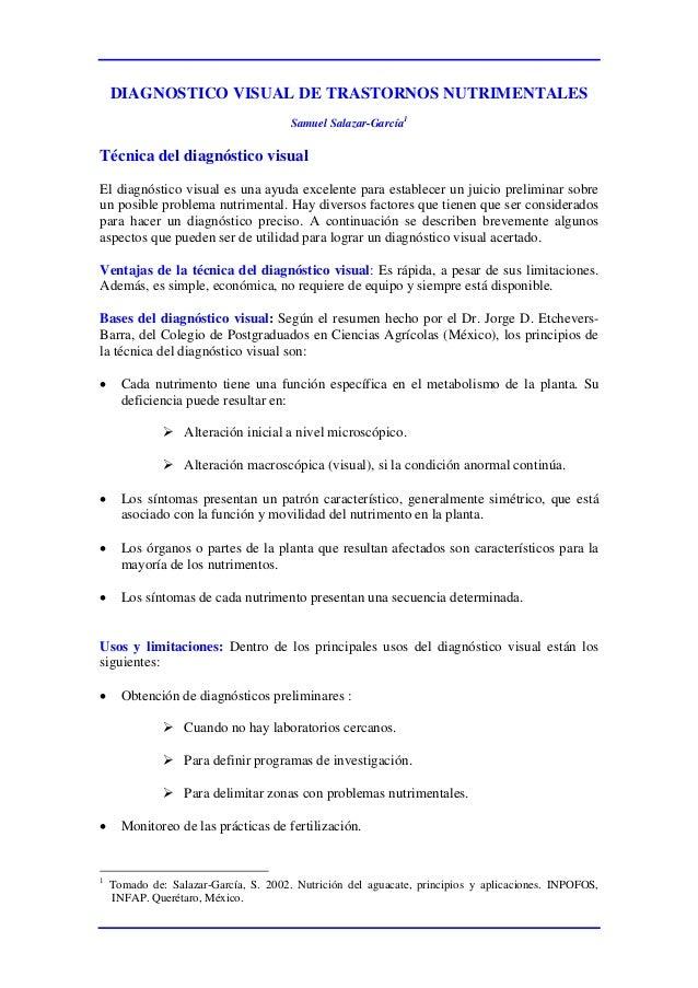 DIAGNOSTICO VISUAL DE TRASTORNOS NUTRIMENTALESSamuel Salazar-García1Técnica del diagnóstico visualEl diagnóstico visual es...