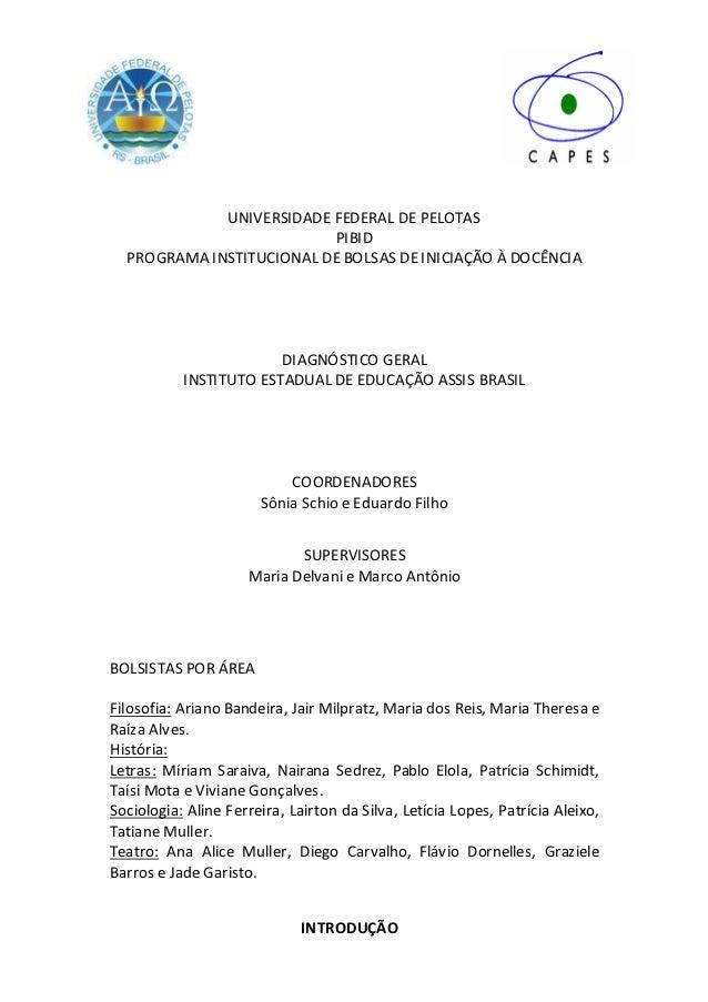 UNIVERSIDADE FEDERAL DE PELOTAS                          PIBID  PROGRAMA INSTITUCIONAL DE BOLSAS DE INICIAÇÃO À DOCÊNCIA  ...