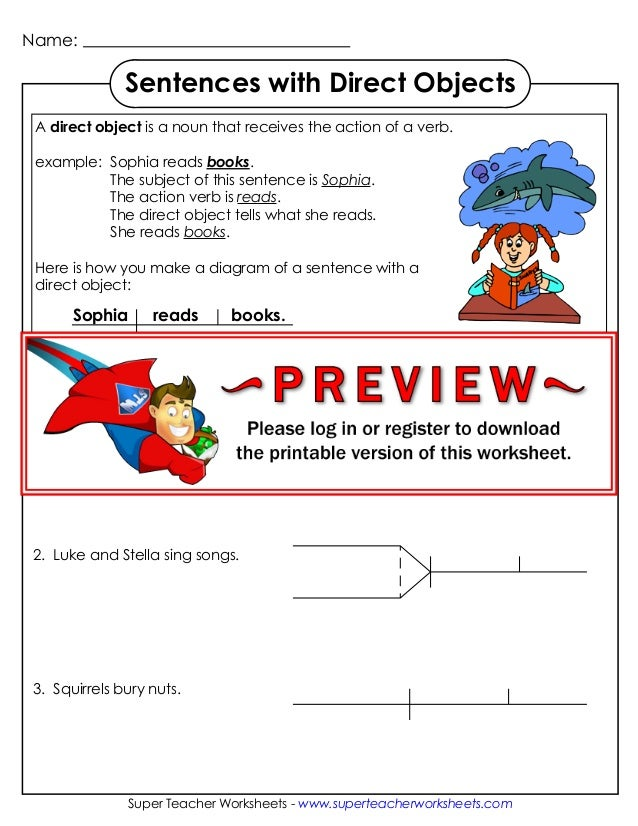Diagram sentences direct objects name super teacher worksheets superteacherworksheets sentences with direct objects a ccuart Choice Image