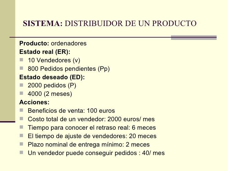 SISTEMA:  DISTRIBUIDOR DE UN PRODUCTO <ul><li>Producto:  ordenadores </li></ul><ul><li>Estado real (ER):  </li></ul><ul><l...