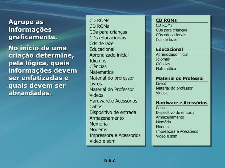Agrupe as informações graficamente. No início de uma criação determine, pela lógica, quais informações devem ser enfatizad...